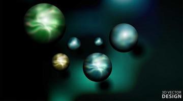 Ilustración de vector de bola 3d realista. esferas en fondo oscuro