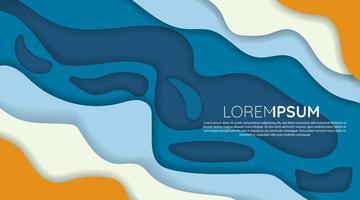 diseño de corte de papel de onda azul, blanco, naranja vector