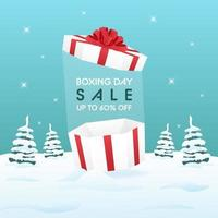 Boxing Day sale on winter background for advertising or promotion concept. vector