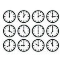 Set of analog clock, 12 times vector illustration