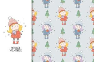 Cartoon little warmly dressed girl with gifts. Christmas card and seamless background pattern. vector