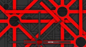 las formas geométricas rojas se superponen con colores grises sobre un fondo oscuro.