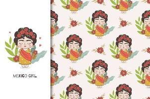 Mexican girl character and seamless pattern. vector