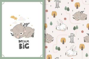 Sleeping bear and bunny baby animal characters. Cute cartoon doodle card and seamless background pattern set. vector