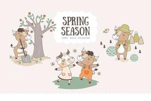 Cute cartoon bulls collection. Spring season characters stickers. vector