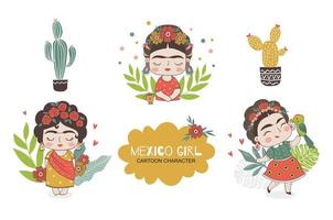 Mexican girl character doodles collection. vector