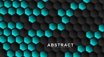 Geometric black hexagons. Surface polygon pattern with blue hexagon, honeycomb. 3D design illustration technology