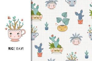 Cute cartoon plants in the pot. Card and seamless background pattern set. vector