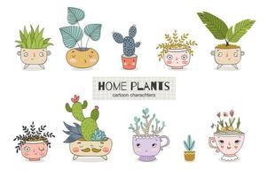 Plantas de dibujos animados lindo en la colección de macetas. garabatos de plantas de interior.