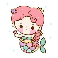 Cute mermaid vector with heart Kawaii girl cartoon