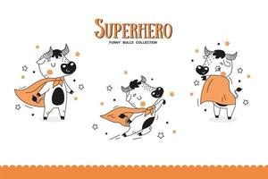 Cartoon bulls superhero collection. vector