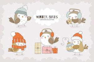 Cute cartoon sparrows character collection. Christmas animal bird icons isolated. vector