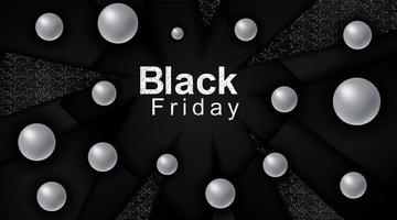 Black Friday sales poster. Black triangle background technology with connected dots and line patterns. 3d Metal Sphere. Vector illustration for a business. Advertising sign.