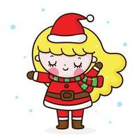 Cute santa claus vector girl merry christmas kawaii cartoon