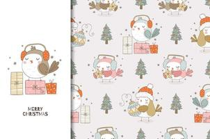 Christmas card and seamless pattern set. Cute cartoon bird with headphones and gifts. vector