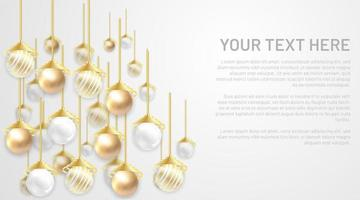 Golden and silver pearl vector ball. Background with blank space for your text