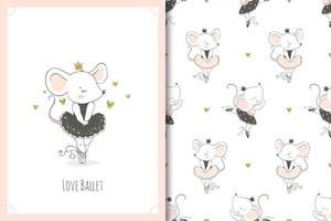 Cute little baby mouse ballerina dancer character. Mice card and seamless background pattern set. vector
