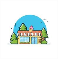 Ice cream shop. The facade of shop icon in flat style design illustration