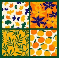 Simple seamless patterns with abstract flowers and oranges.