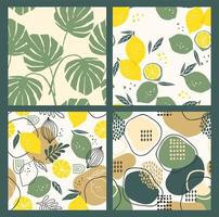 Abstract collection of seamless patterns with lemons, leaves and geometric shapes. Modern design vector