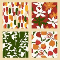Abstract collection of seamless patterns with flowers, and leaves and pomegranates. Modern design