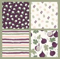 Abstract collection of seamless patterns with flowers, figs, stripes and geometric shapes. Modern design