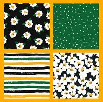 patrones sin fisuras florales abstractos con manzanilla. texturas dibujadas a mano de moda. diseño abstracto moderno vector
