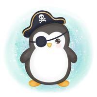 adorable bebé pingüino ilustración vector