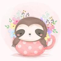 Adorable baby sloth illustration vector