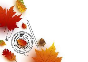 Diseño de concepto de otoño de boceto de taza de café y hojas para otoño