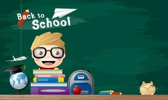 diseño de concepto de regreso a la escuela de estudiante con libros vector