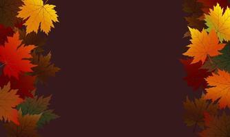 hojas de arce otoñal sobre fondo marrón vector