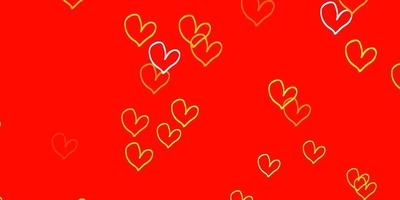 Light Red, Yellow vector pattern with colorful hearts.