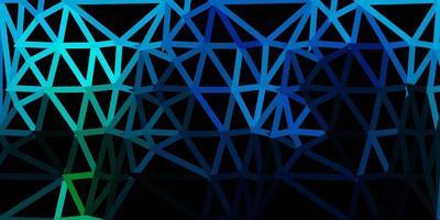 Dark blue, green vector triangle mosaic background.