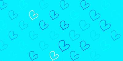 Light BLUE vector texture with lovely hearts.
