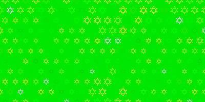 Fondo de vector verde oscuro, amarillo con símbolos covid-19.