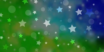 Light Blue, Green vector pattern with circles, stars
