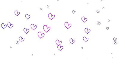 Light Purple vector texture with lovely hearts.