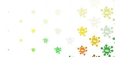 plantilla de vector verde claro, amarillo con signos de gripe.
