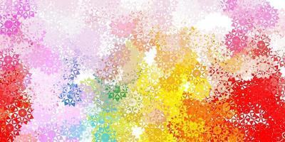 patrón de vector multicolor claro con copos de nieve de colores.