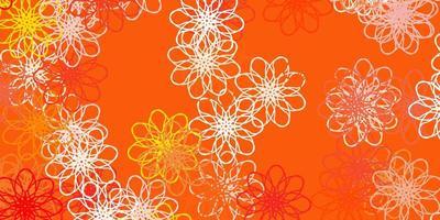Textura de doodle de vector naranja claro con flores.