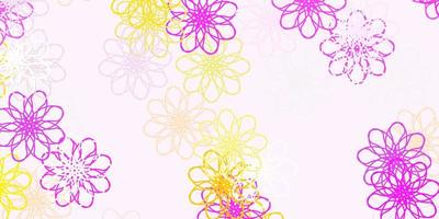 Light Pink, Yellow vector natural backdrop with flowers.