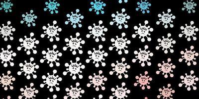 patrón de vector rosa oscuro, verde con elementos de coronavirus.