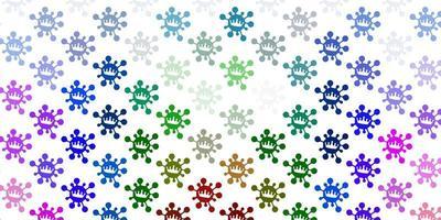 Fondo de vector multicolor claro con símbolos de virus