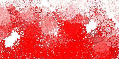 textura de vector rojo claro con copos de nieve brillantes.