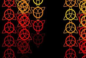 Dark Red, Yellow vector backdrop with mystery symbols.