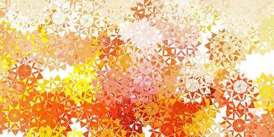 patrón de vector amarillo claro con copos de nieve de colores.