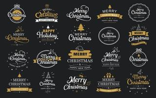 Merry Christmas and happy new year typography label with symbols design set