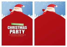 Santa Claus and a huge bag of gifts with Christmas party invitation card