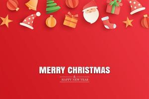 Merry christmas and happy new year red greeting card in paper art banner template. Use for poster, cover, flyer.